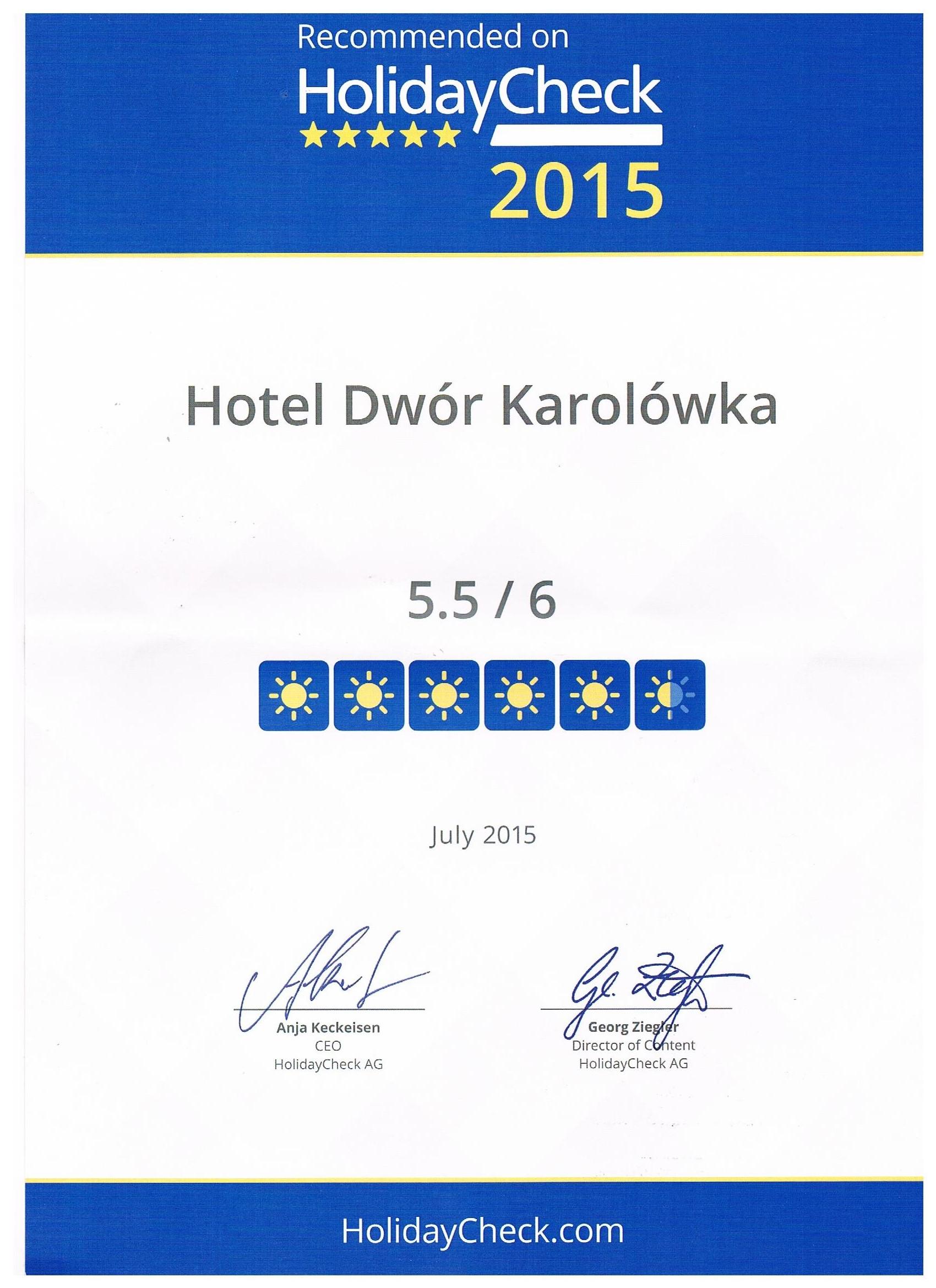 Rekomendacja Holiday Check Karolówka 2015
