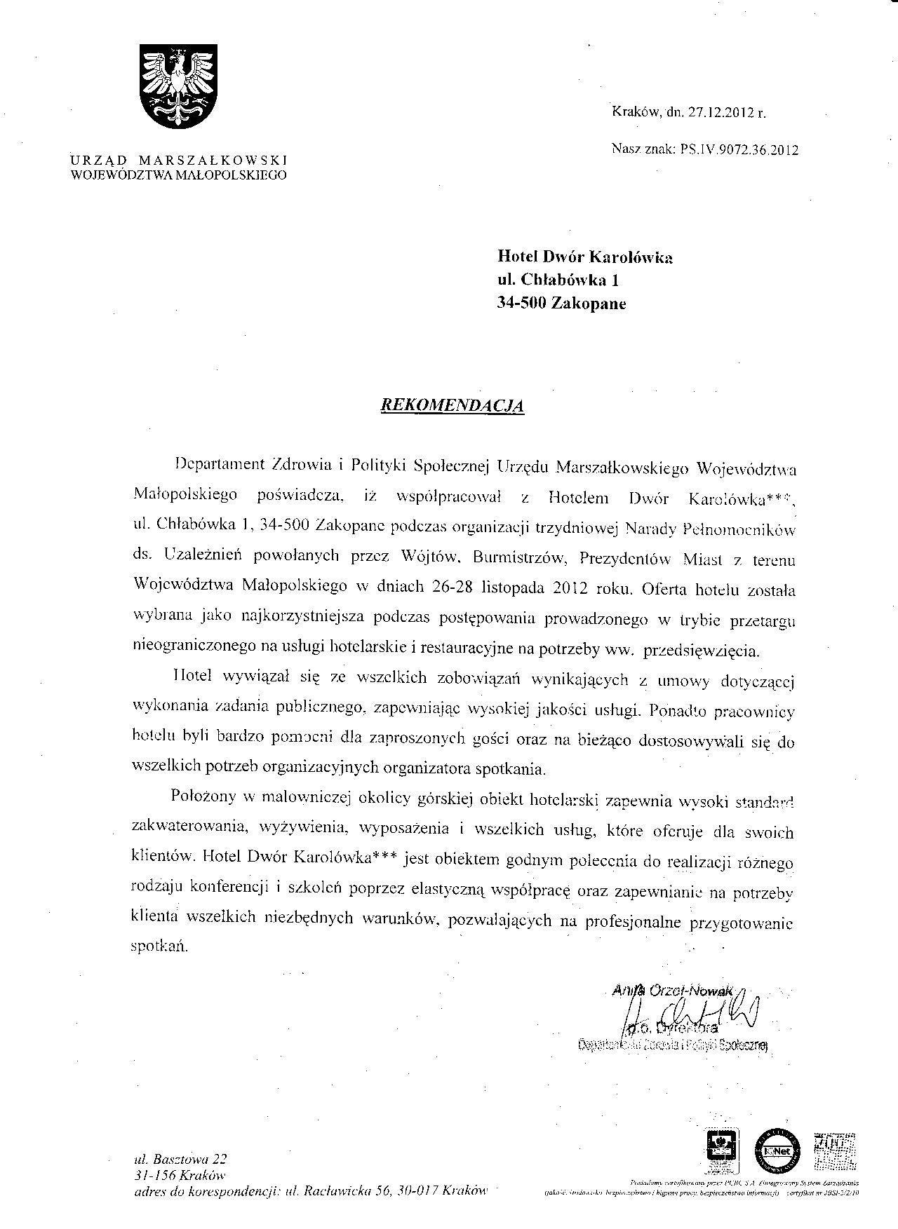 Rekomendacja Urzędu Marszałkowskiego